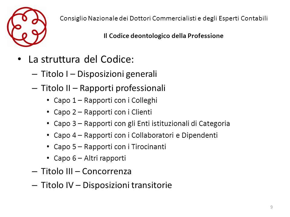 Consiglio Nazionale dei Dottori Commercialisti e degli Esperti Contabili Il Codice deontologico della Professione La struttura del Codice: – Titolo I