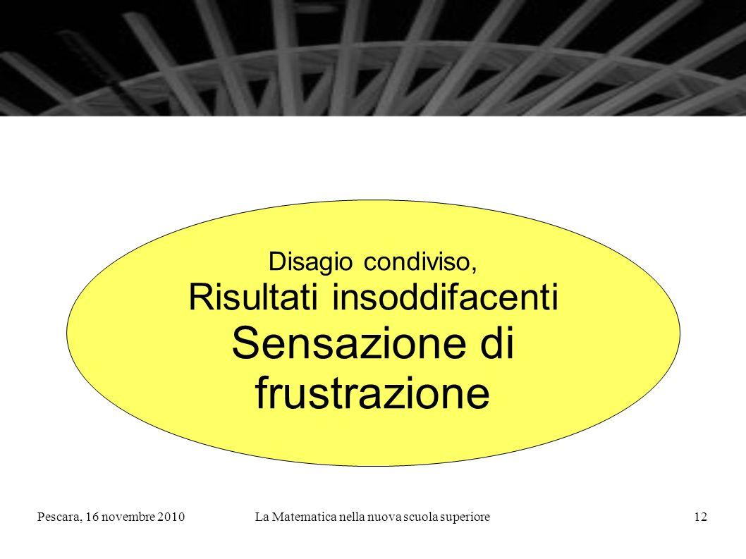 Pescara, 16 novembre 2010La Matematica nella nuova scuola superiore12 Disagio condiviso, Risultati insoddifacenti Sensazione di frustrazione