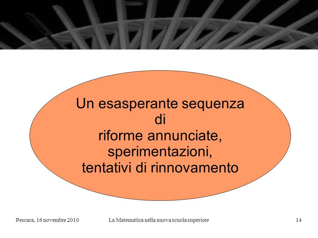 Pescara, 16 novembre 2010La Matematica nella nuova scuola superiore14 Un esasperante sequenza di riforme annunciate, sperimentazioni, tentativi di rinnovamento