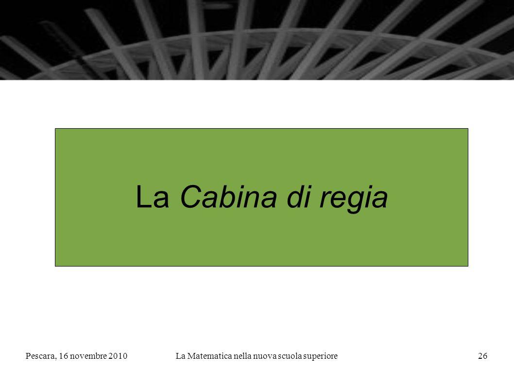 Pescara, 16 novembre 2010La Matematica nella nuova scuola superiore26 La Cabina di regia