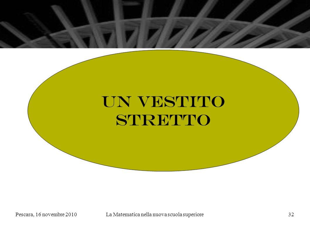 Pescara, 16 novembre 2010La Matematica nella nuova scuola superiore32 Un vestito stretto