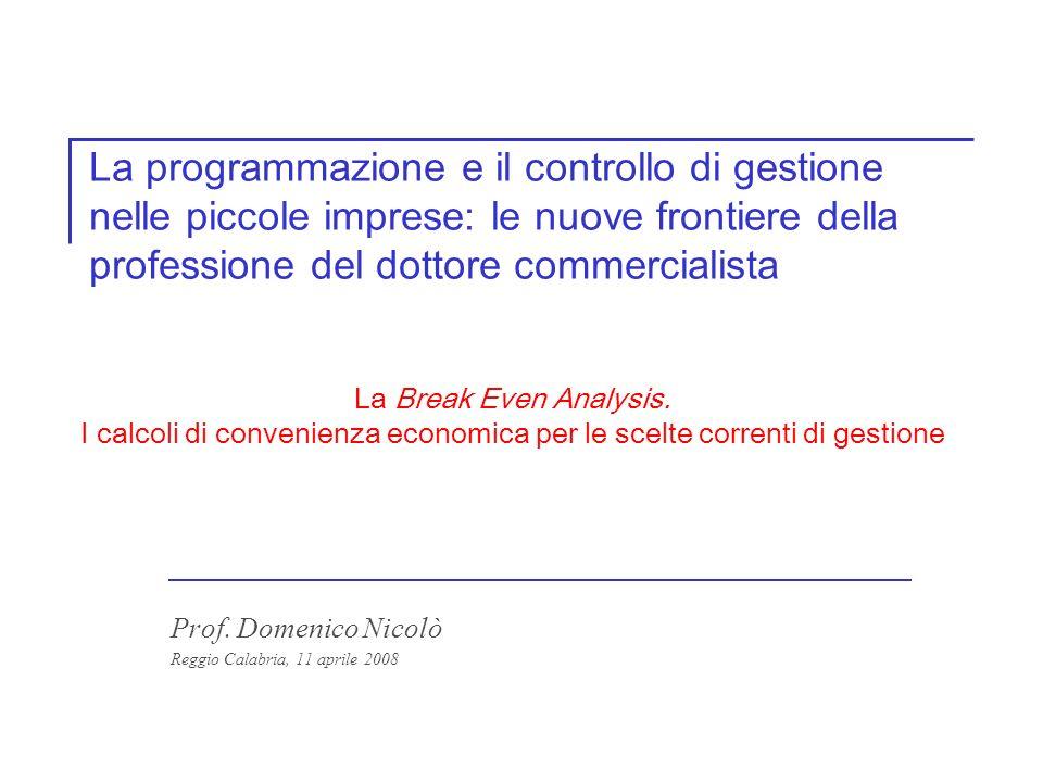 Prof.Domenico Nicolò - domenico.nicolo@unirc.it 2 6.1 La Break Even Analysis.