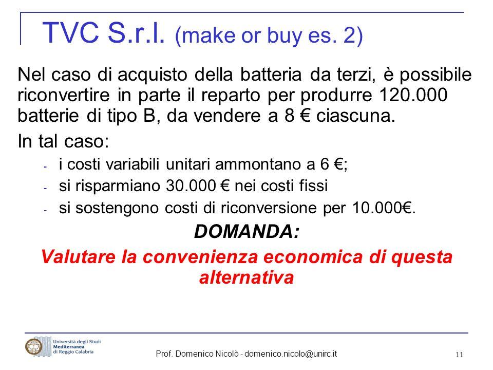 Prof. Domenico Nicolò - domenico.nicolo@unirc.it 11 TVC S.r.l. (make or buy es. 2) Nel caso di acquisto della batteria da terzi, è possibile riconvert