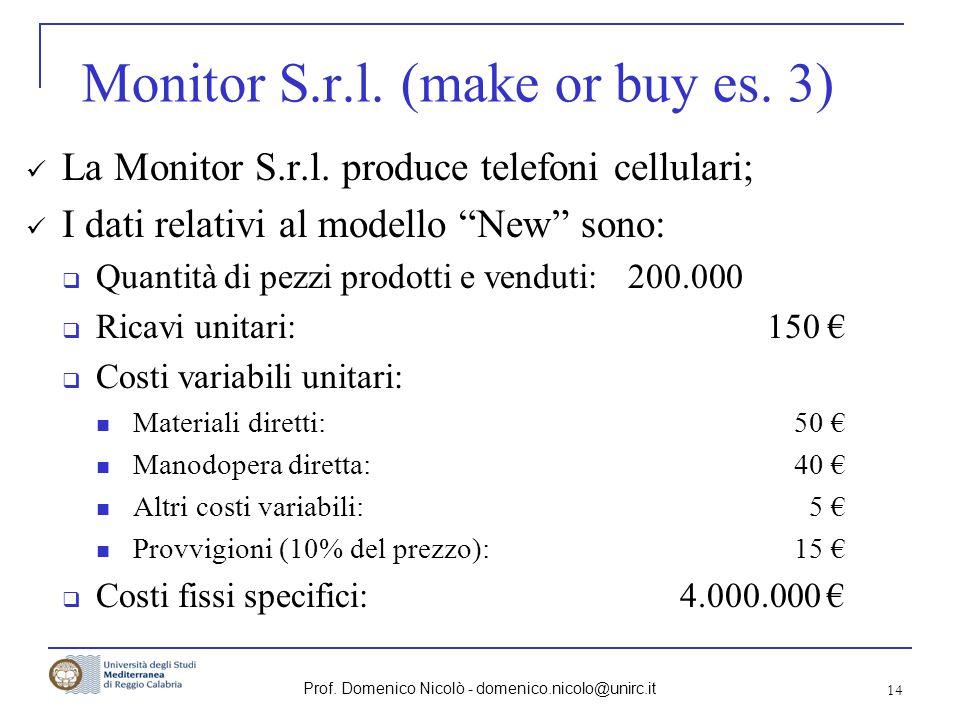 Prof. Domenico Nicolò - domenico.nicolo@unirc.it 14 Monitor S.r.l. (make or buy es. 3) La Monitor S.r.l. produce telefoni cellulari; I dati relativi a