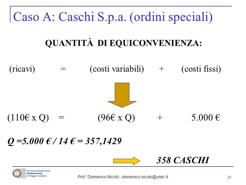 Prof. Domenico Nicolò - domenico.nicolo@unirc.it 29 (110 x Q) = (96 x Q) + 5.000 Q =5.000 / 14 = 357,1429 Caso A: Caschi S.p.a. (ordini speciali) QUAN