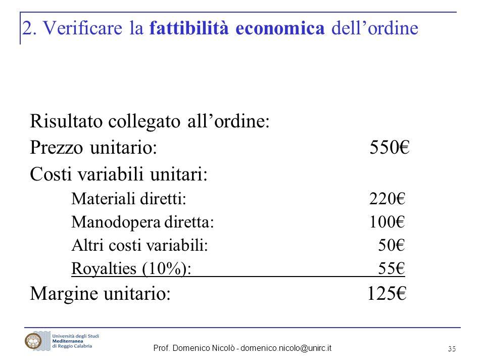 Prof. Domenico Nicolò - domenico.nicolo@unirc.it 35 2. Verificare la fattibilità economica dellordine Risultato collegato allordine: Prezzo unitario:5