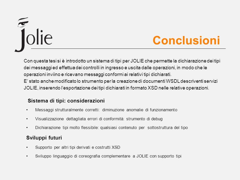 Conclusioni Sistema di tipi: considerazioni Messaggi strutturalmente corretti: diminuzione anomalie di funzionamento Visualizzazione dettagliata error