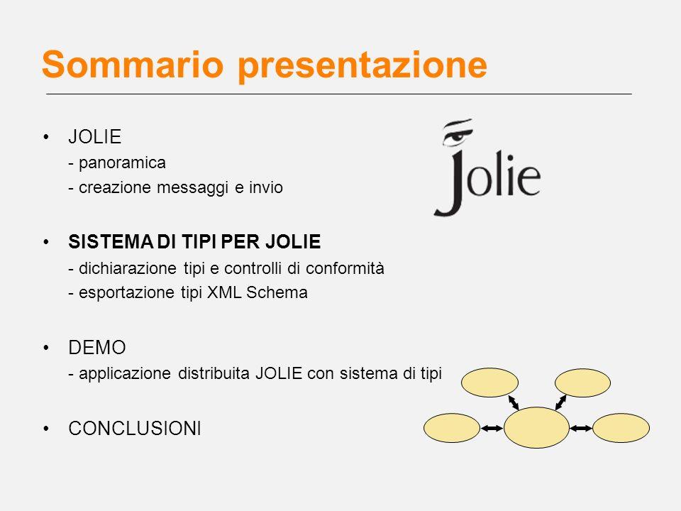 Sommario presentazione JOLIE - panoramica - creazione messaggi e invio SISTEMA DI TIPI PER JOLIE - dichiarazione tipi e controlli di conformità - espo