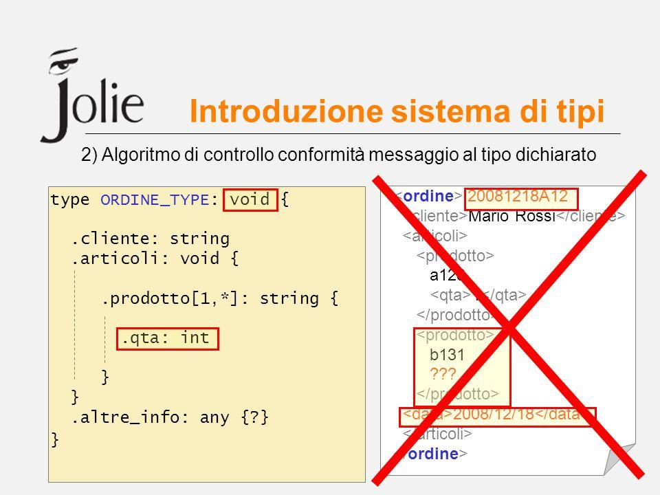 Introduzione sistema di tipi 2) Algoritmo di controllo conformità messaggio al tipo dichiarato 20081218A12 Mario Rossi a128 1 b131 ??? 2008/12/18 type