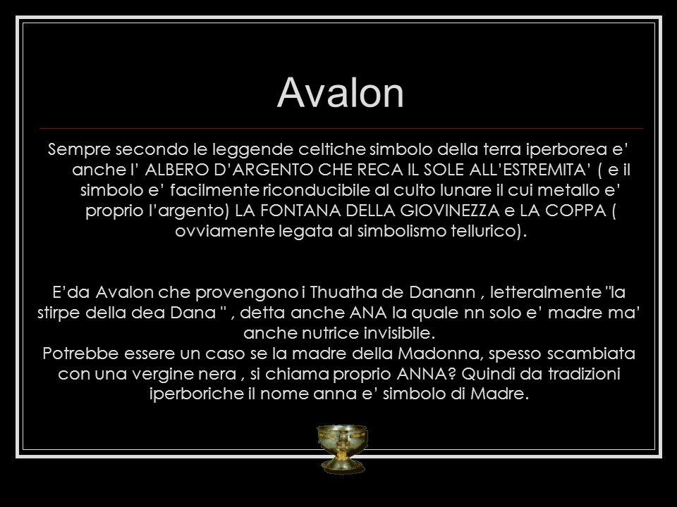 Avalon Sempre secondo le leggende celtiche simbolo della terra iperborea e anche l ALBERO DARGENTO CHE RECA IL SOLE ALLESTREMITA ( e il simbolo e faci