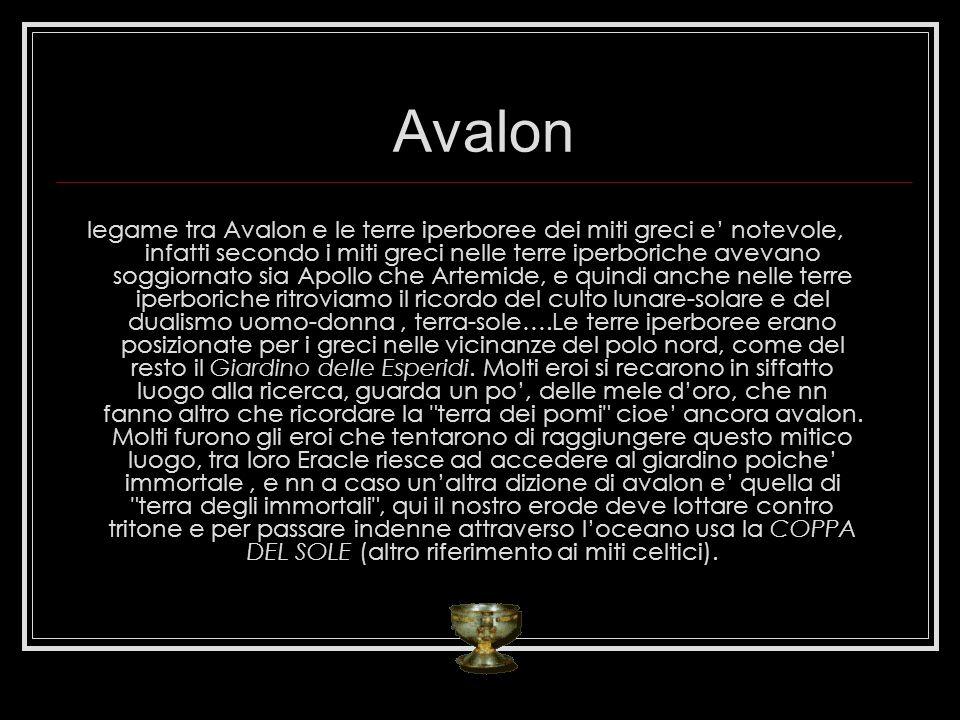 Avalon legame tra Avalon e le terre iperboree dei miti greci e notevole, infatti secondo i miti greci nelle terre iperboriche avevano soggiornato sia