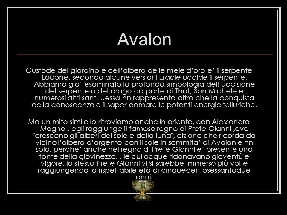 Avalon Custode del giardino e dellalbero delle mele doro e il serpente Ladone, secondo alcune versioni Eracle uccide il serpente. Abbiamo gia esaminat