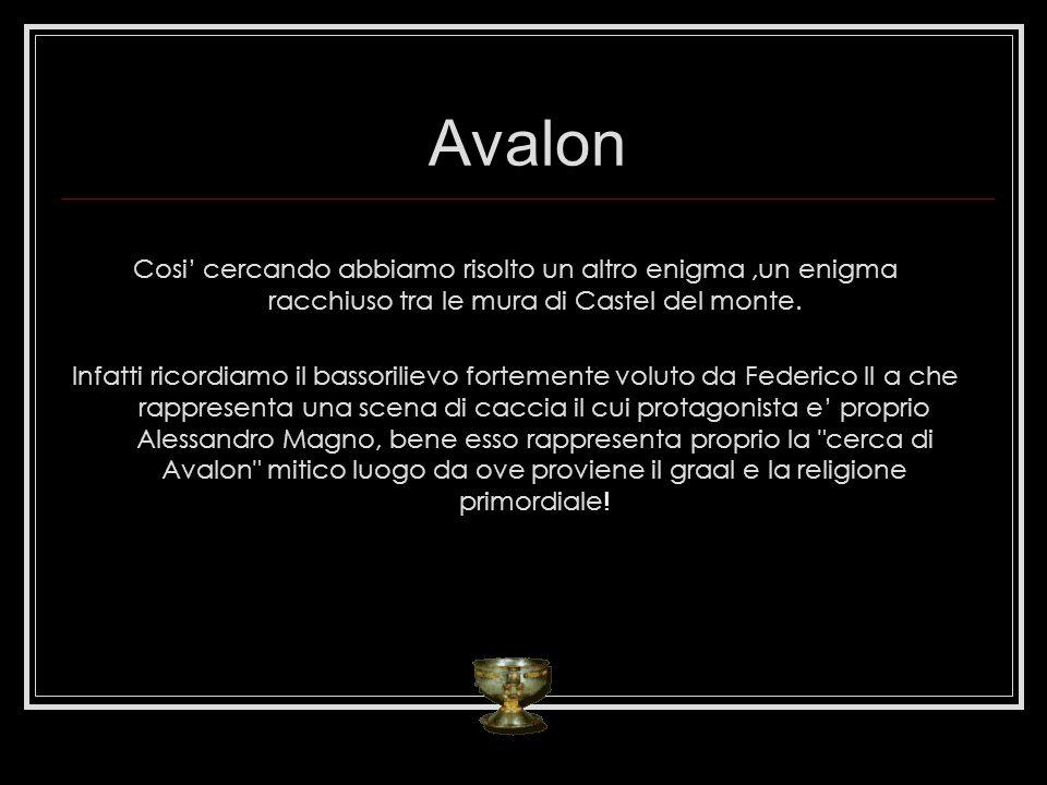 Avalon Cosi cercando abbiamo risolto un altro enigma,un enigma racchiuso tra le mura di Castel del monte. Infatti ricordiamo il bassorilievo fortement
