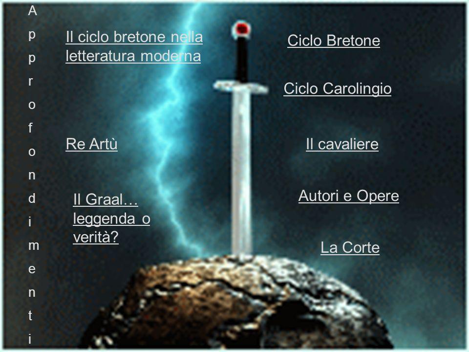 Ciclo Bretone Ciclo Carolingio Il cavaliere La Corte Autori e Opere A p p r o f o n d i m e n t i Re Artù Il Graal… leggenda o verità.