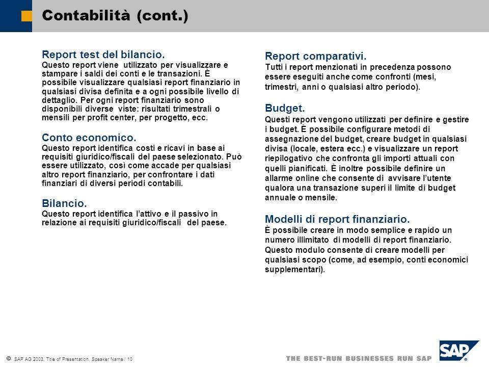 SAP AG 2003, Title of Presentation, Speaker Name / 10 Contabilità (cont.) Report test del bilancio.