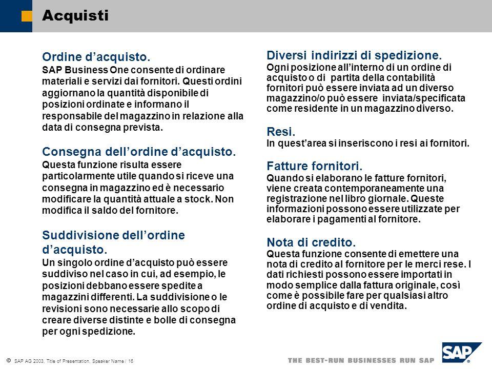 SAP AG 2003, Title of Presentation, Speaker Name / 16 Acquisti Ordine dacquisto.