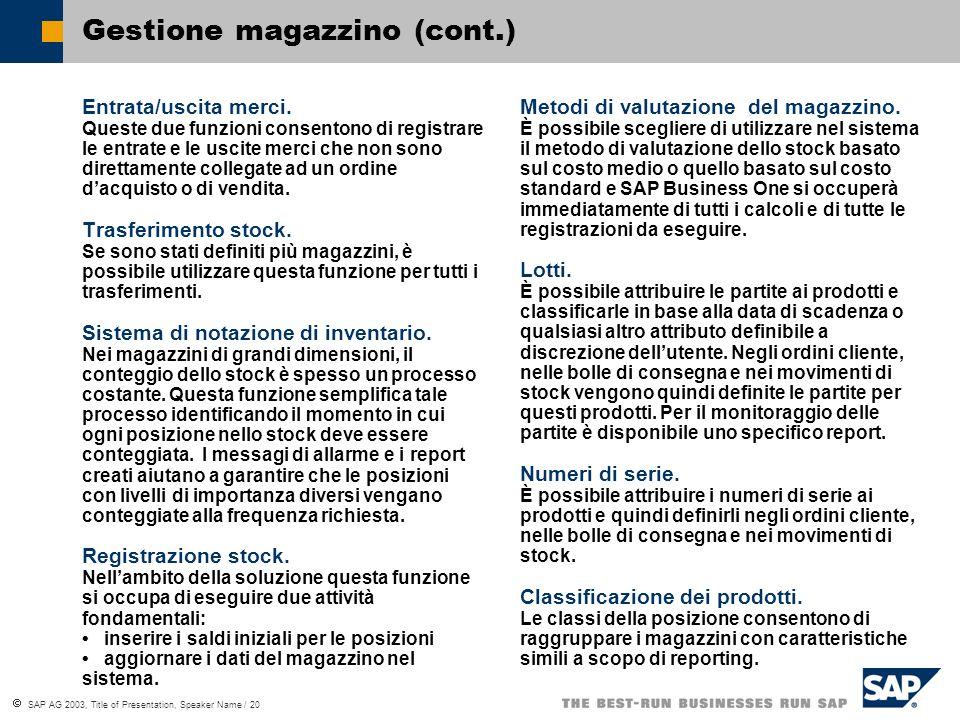 SAP AG 2003, Title of Presentation, Speaker Name / 20 Gestione magazzino (cont.) Entrata/uscita merci.