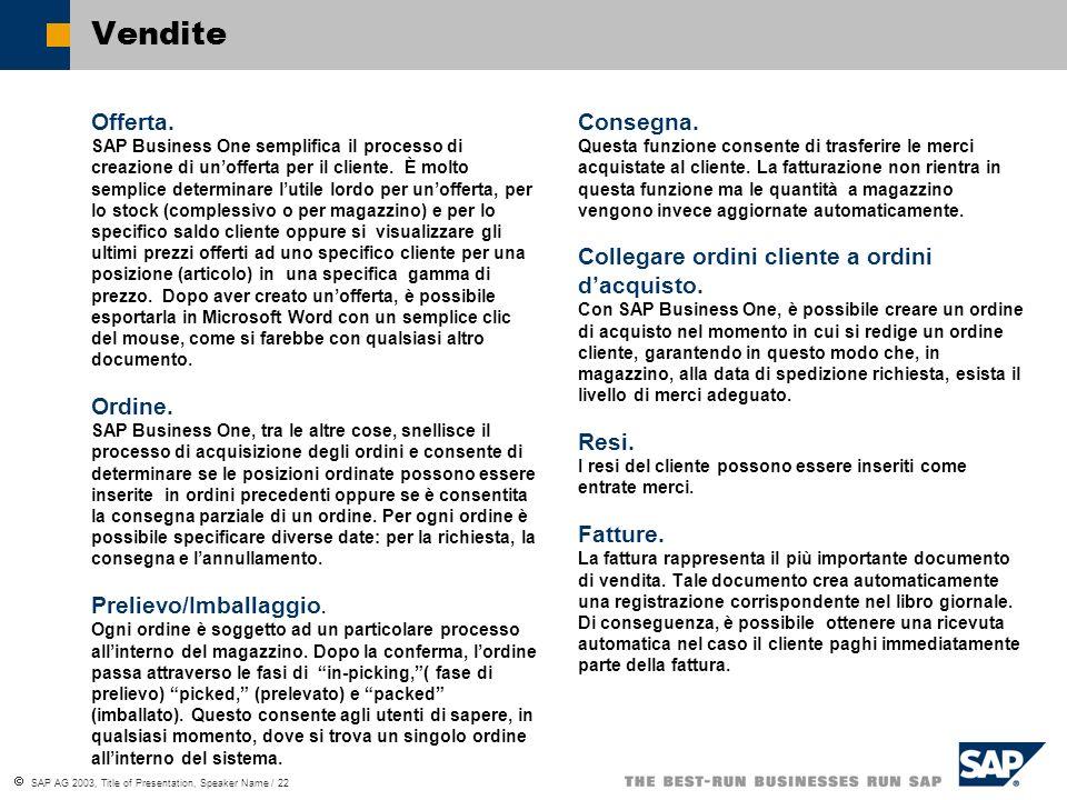 SAP AG 2003, Title of Presentation, Speaker Name / 22 Vendite Offerta.