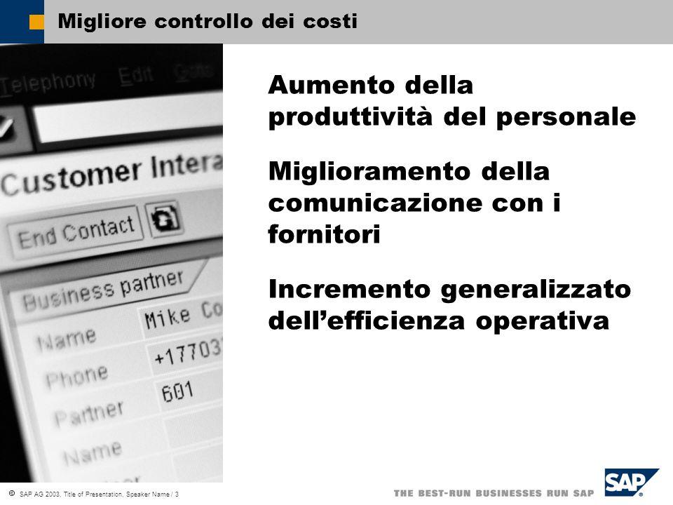 SAP AG 2003, Title of Presentation, Speaker Name / 3 Migliore controllo dei costi Aumento della produttività del personale Miglioramento della comunicazione con i fornitori Incremento generalizzato dellefficienza operativa