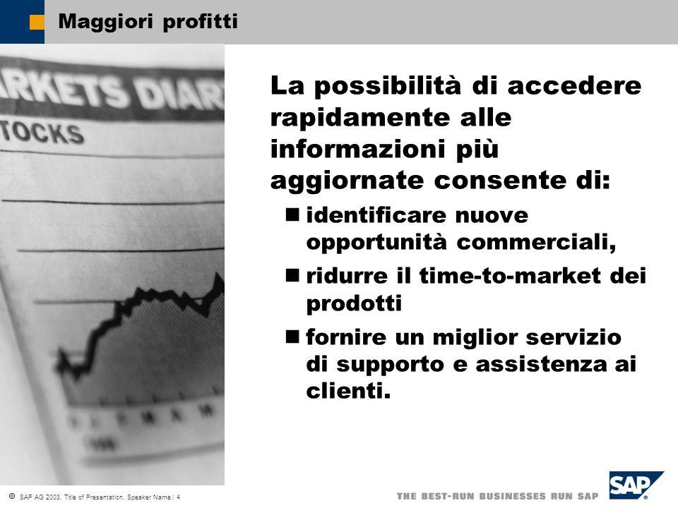 SAP AG 2003, Title of Presentation, Speaker Name / 4 Maggiori profitti La possibilità di accedere rapidamente alle informazioni più aggiornate consente di: identificare nuove opportunità commerciali, ridurre il time-to-market dei prodotti fornire un miglior servizio di supporto e assistenza ai clienti.