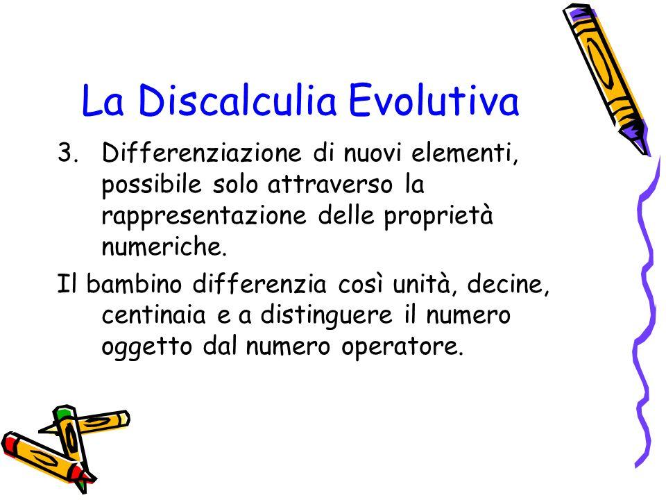La Discalculia Evolutiva 3.Differenziazione di nuovi elementi, possibile solo attraverso la rappresentazione delle proprietà numeriche. Il bambino dif