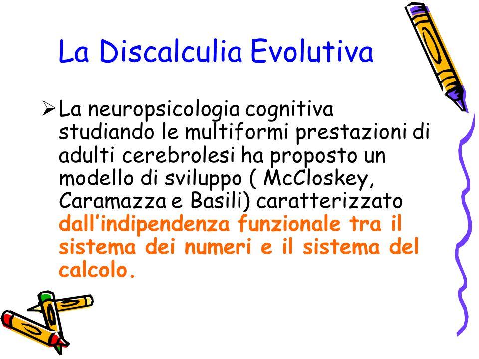 La Discalculia Evolutiva La neuropsicologia cognitiva studiando le multiformi prestazioni di adulti cerebrolesi ha proposto un modello di sviluppo ( M