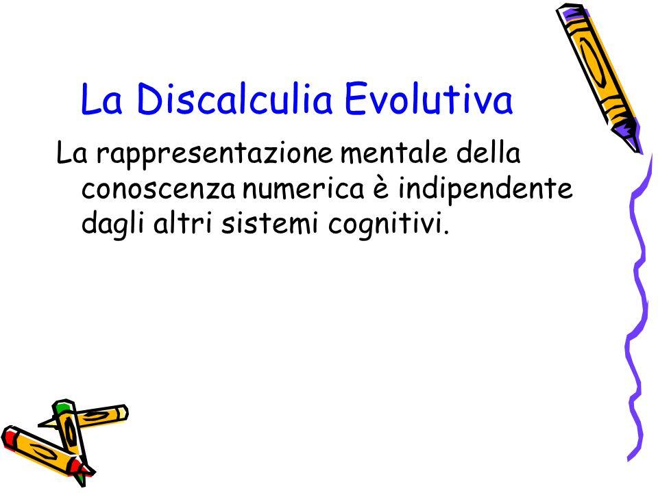 La Discalculia Evolutiva La rappresentazione mentale della conoscenza numerica è indipendente dagli altri sistemi cognitivi.