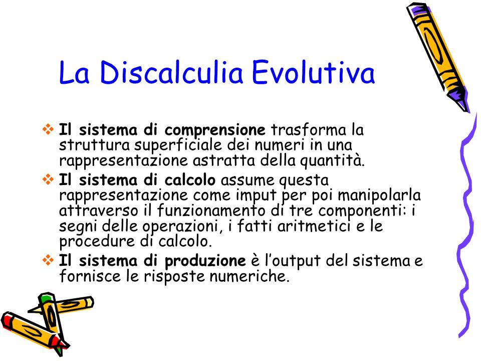 La Discalculia Evolutiva Il sistema di comprensione trasforma la struttura superficiale dei numeri in una rappresentazione astratta della quantità. Il