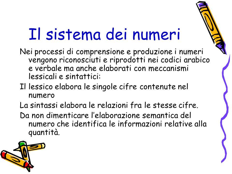 Il sistema dei numeri Nei processi di comprensione e produzione i numeri vengono riconosciuti e riprodotti nei codici arabico e verbale ma anche elabo