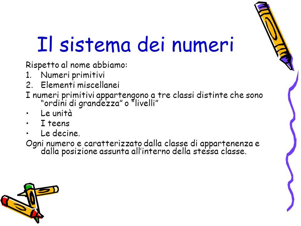 Il sistema dei numeri Rispetto al nome abbiamo: 1.Numeri primitivi 2.Elementi miscellanei I numeri primitivi appartengono a tre classi distinte che so