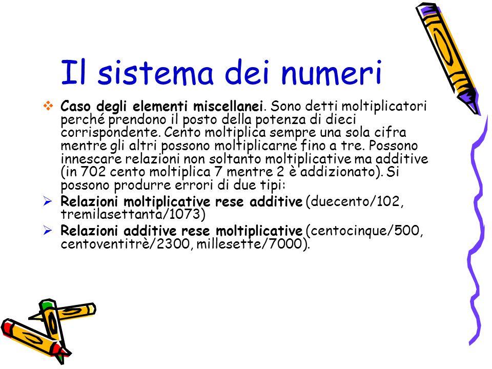 Il sistema dei numeri Caso degli elementi miscellanei. Sono detti moltiplicatori perché prendono il posto della potenza di dieci corrispondente. Cento