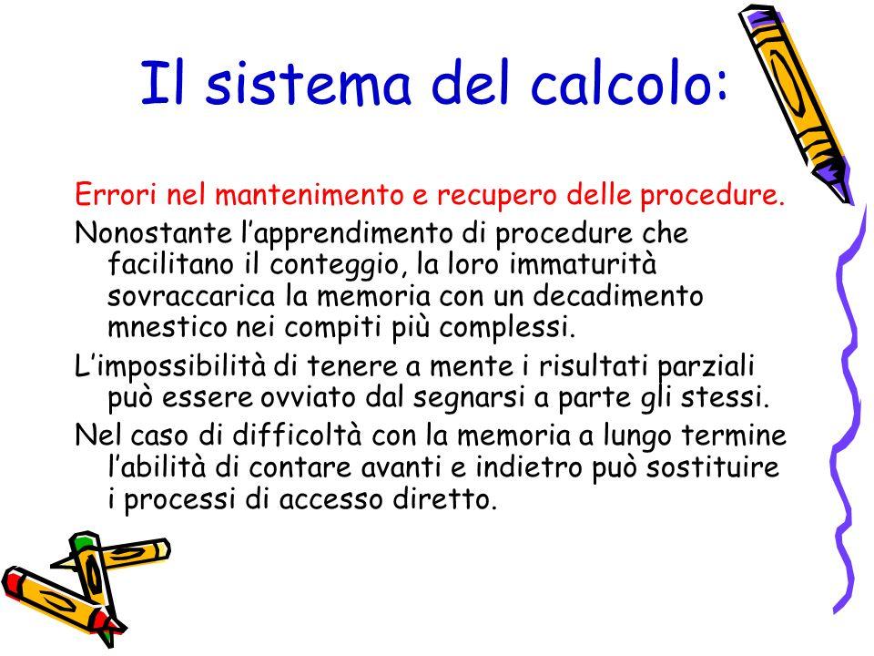 Il sistema del calcolo: Errori nel mantenimento e recupero delle procedure. Nonostante lapprendimento di procedure che facilitano il conteggio, la lor