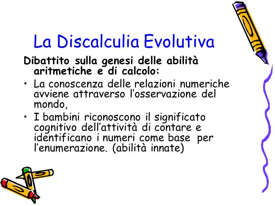 La Discalculia Evolutiva Dibattito sulla genesi delle abilità aritmetiche e di calcolo: La conoscenza delle relazioni numeriche avviene attraverso los
