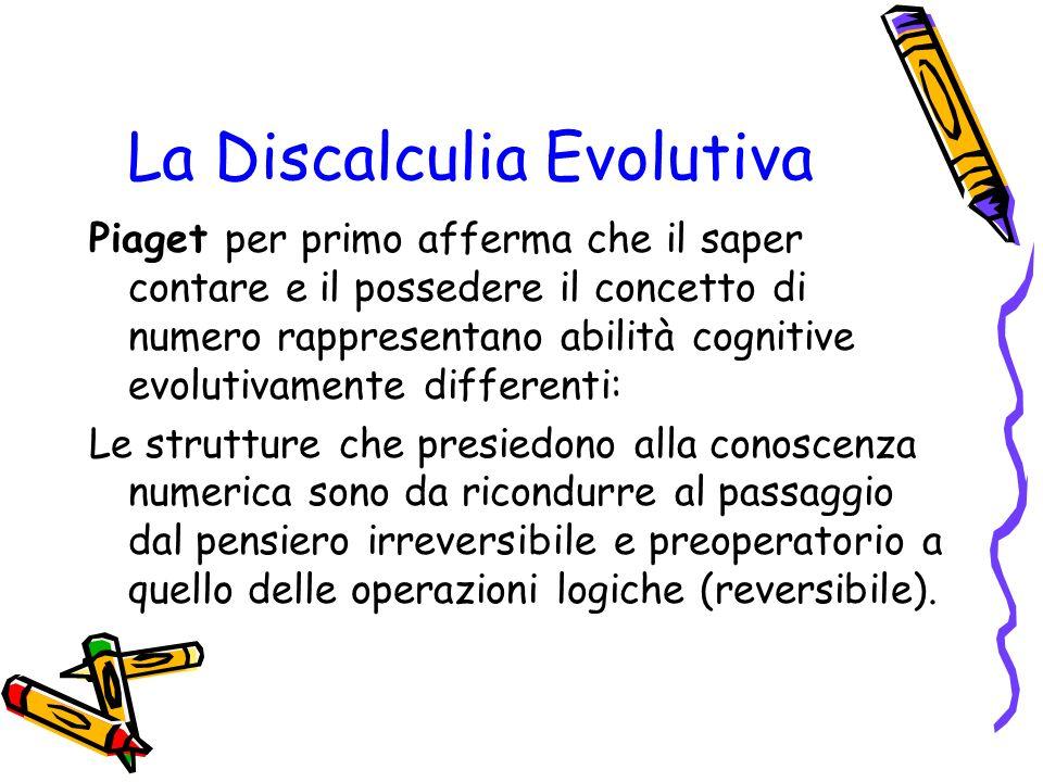 La Discalculia Evolutiva Piaget per primo afferma che il saper contare e il possedere il concetto di numero rappresentano abilità cognitive evolutivam
