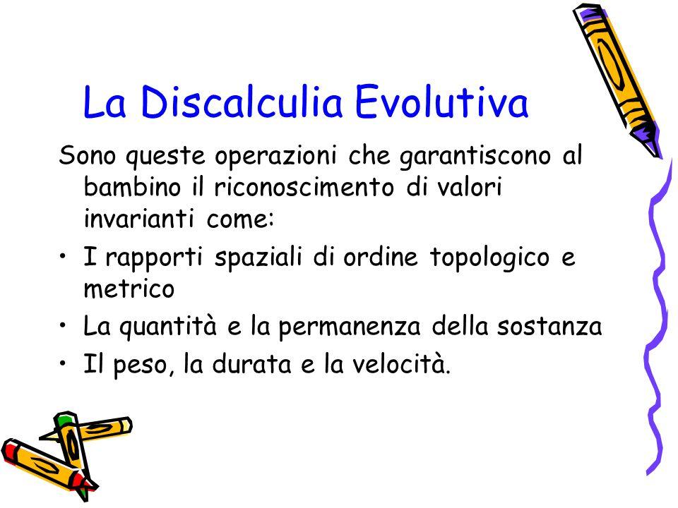 La Discalculia Evolutiva Sono queste operazioni che garantiscono al bambino il riconoscimento di valori invarianti come: I rapporti spaziali di ordine