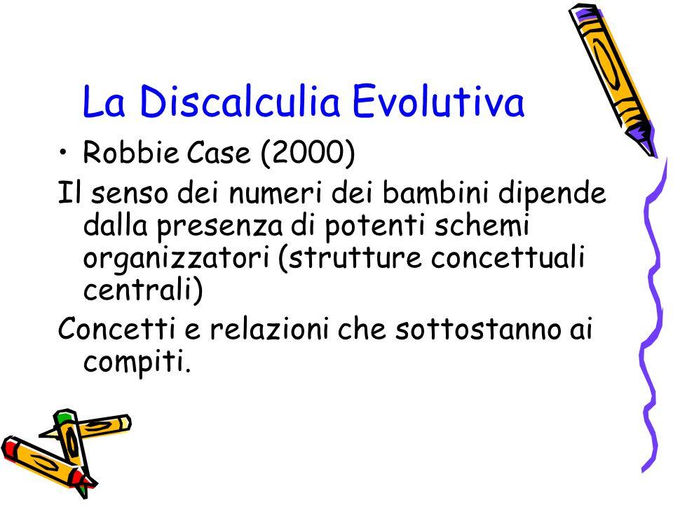 La Discalculia Evolutiva Robbie Case (2000) Il senso dei numeri dei bambini dipende dalla presenza di potenti schemi organizzatori (strutture concettu