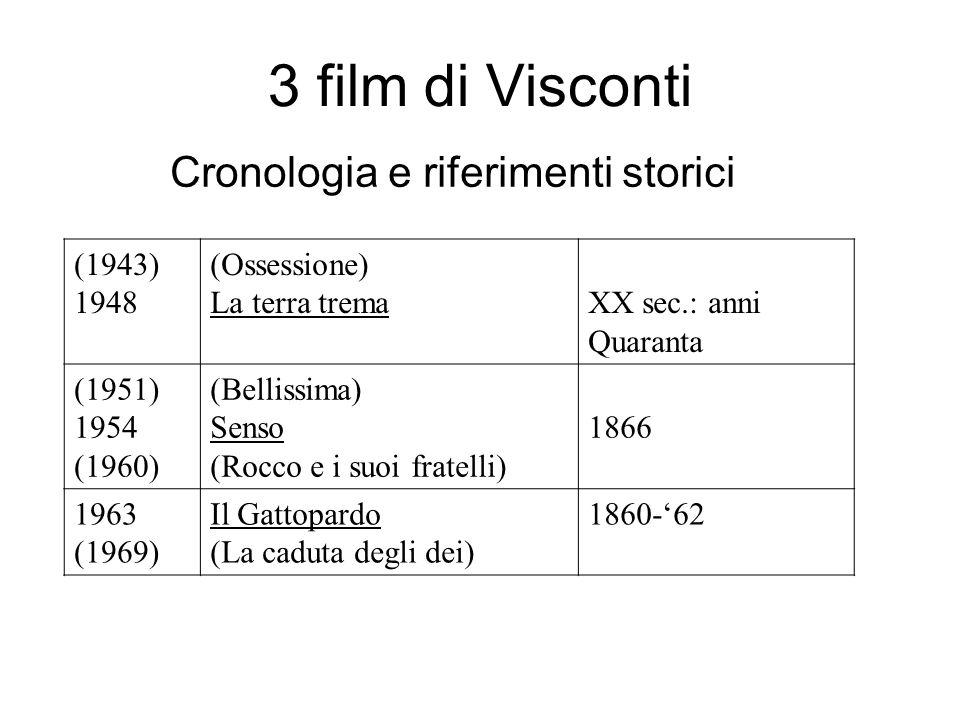 3 film di Visconti Cronologia e riferimenti storici (1943) 1948 (Ossessione) La terra tremaXX sec.: anni Quaranta (1951) 1954 (1960) (Bellissima) Sens
