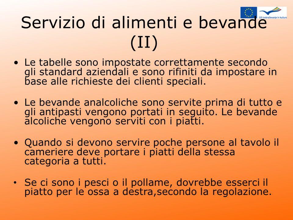 Servizio di alimenti e bevande (II) Le tabelle sono impostate correttamente secondo gli standard aziendali e sono rifiniti da impostare in base alle r