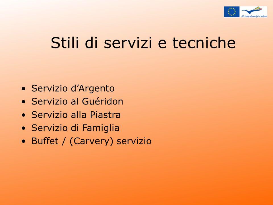 Stili di servizi e tecniche Servizio dArgento Servizio al Guéridon Servizio alla Piastra Servizio di Famiglia Buffet / (Carvery) servizio