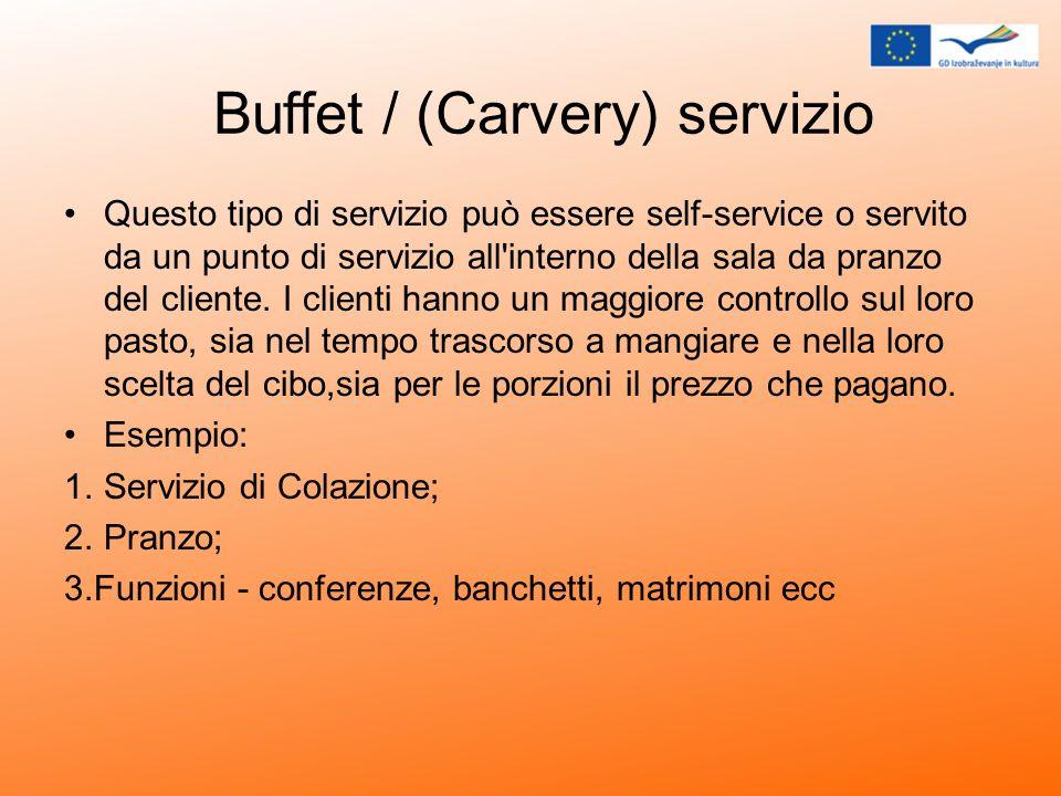 Buffet / (Carvery) servizio Questo tipo di servizio può essere self-service o servito da un punto di servizio all'interno della sala da pranzo del cli