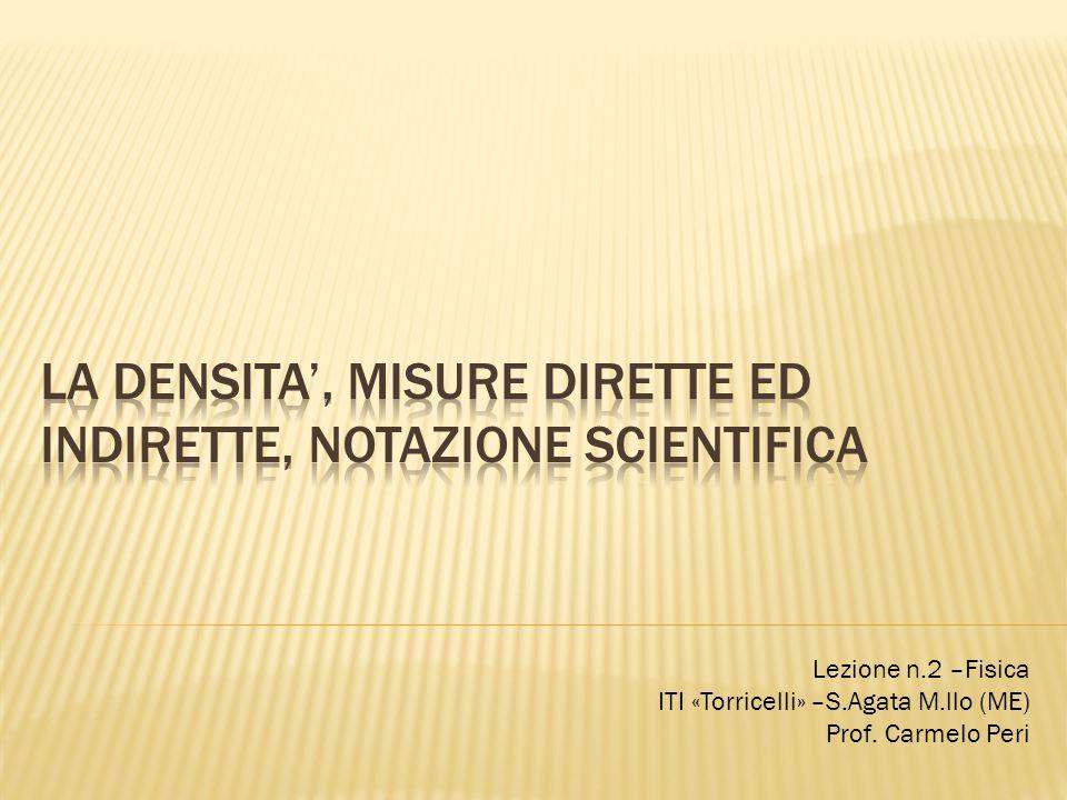 Lezione n.2 –Fisica ITI «Torricelli» –S.Agata M.llo (ME) Prof. Carmelo Peri
