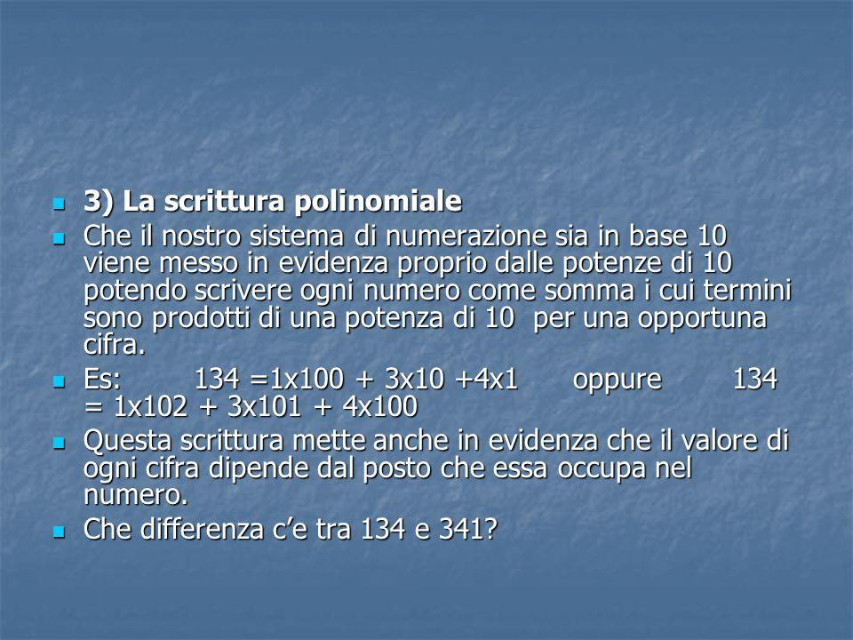 3) La scrittura polinomiale 3) La scrittura polinomiale Che il nostro sistema di numerazione sia in base 10 viene messo in evidenza proprio dalle pote