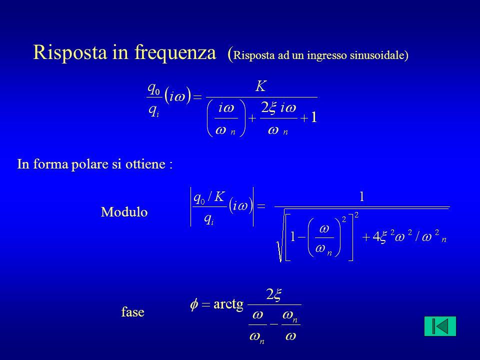 Risposta in frequenza ( Risposta ad un ingresso sinusoidale) In forma polare si ottiene : Modulo fase