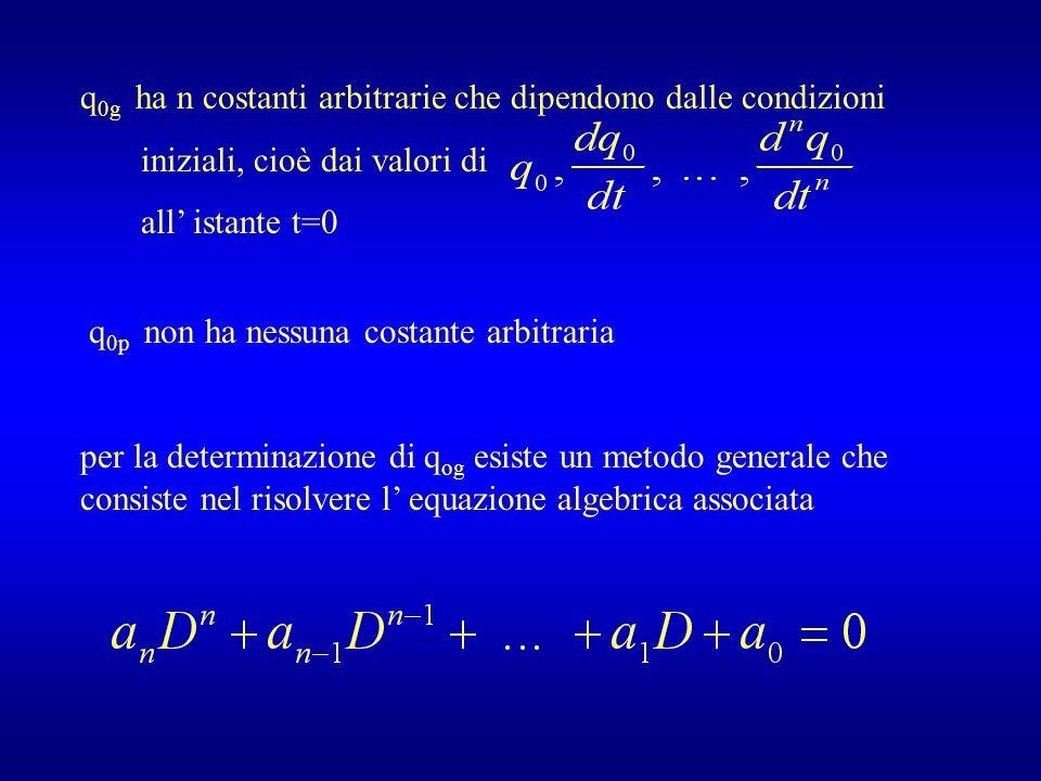 q 0g ha n costanti arbitrarie che dipendono dalle condizioni iniziali, cioè dai valori di all istante t=0 q 0p non ha nessuna costante arbitraria per