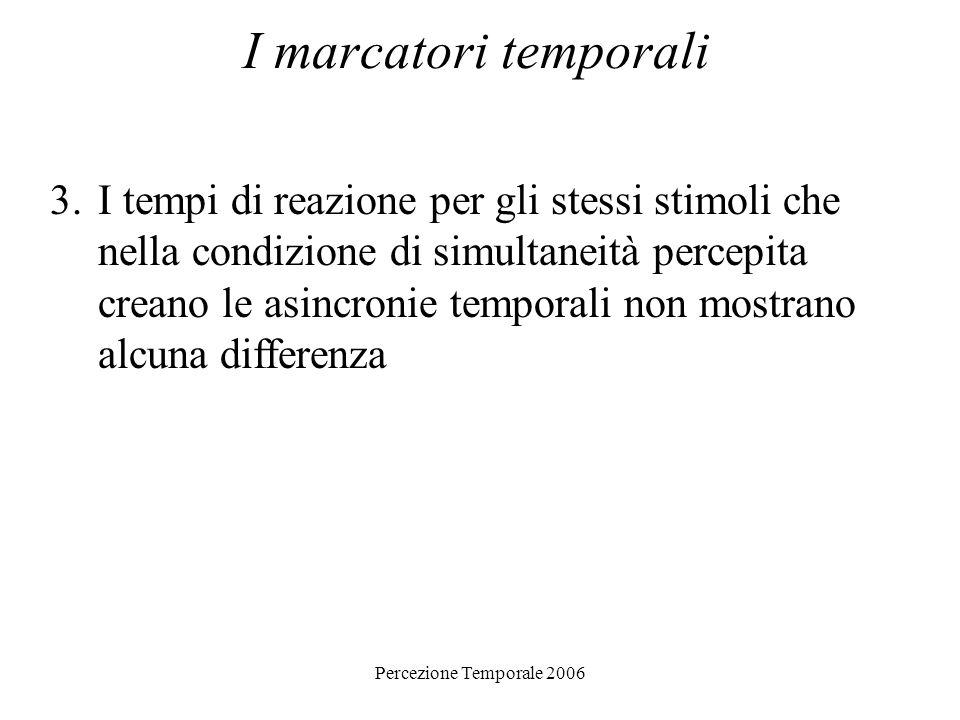 Percezione Temporale 2006 I marcatori temporali 3.I tempi di reazione per gli stessi stimoli che nella condizione di simultaneità percepita creano le