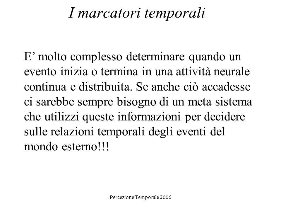 Percezione Temporale 2006 I marcatori temporali E molto complesso determinare quando un evento inizia o termina in una attività neurale continua e dis