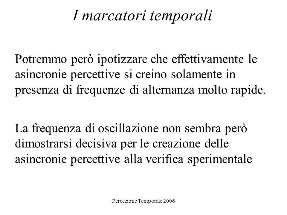 Percezione Temporale 2006 I marcatori temporali Potremmo però ipotizzare che effettivamente le asincronie percettive si creino solamente in presenza d