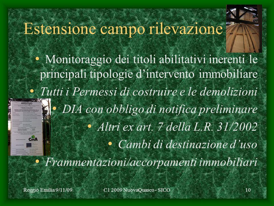 Reggio Emilia 9/11/09C1 2009 NuovaQuasco - SICO10 Estensione campo rilevazione Monitoraggio dei titoli abilitativi inerenti le principali tipologie dintervento immobiliare Tutti i Permessi di costruire e le demolizioni DIA con obbligo di notifica preliminare Altri ex art.