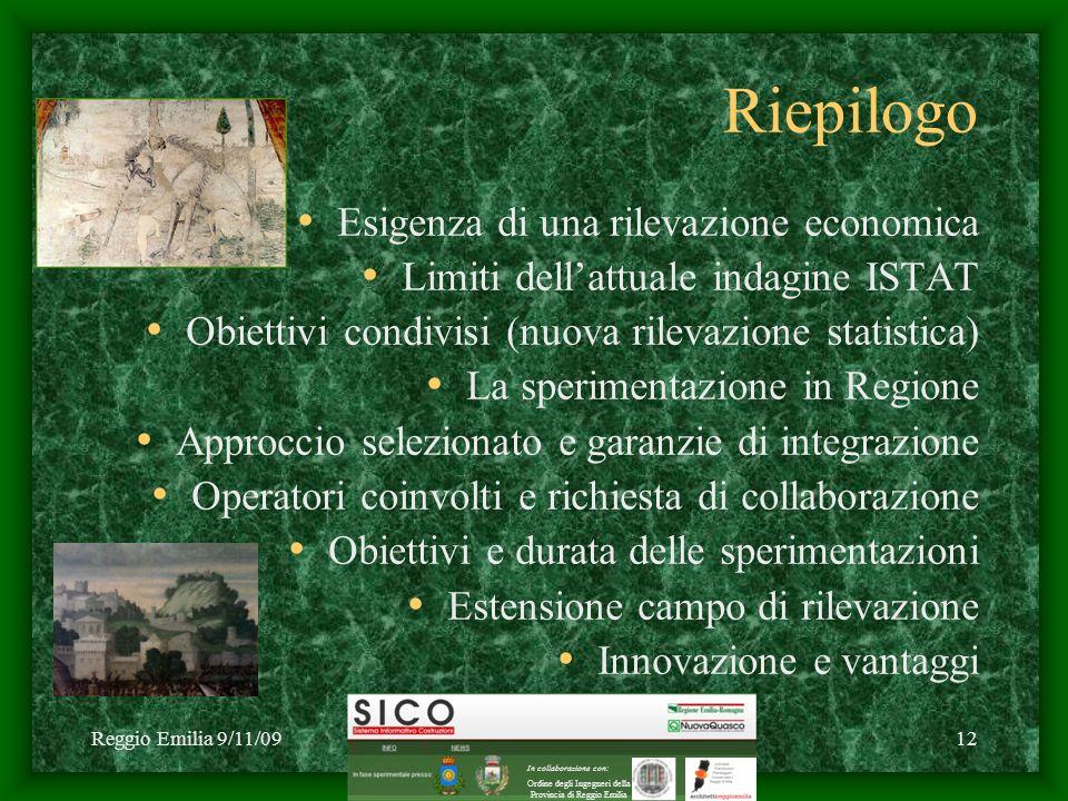 Reggio Emilia 9/11/09C1 2009 NuovaQuasco - SICO12 Riepilogo Esigenza di una rilevazione economica Limiti dellattuale indagine ISTAT Obiettivi condivis