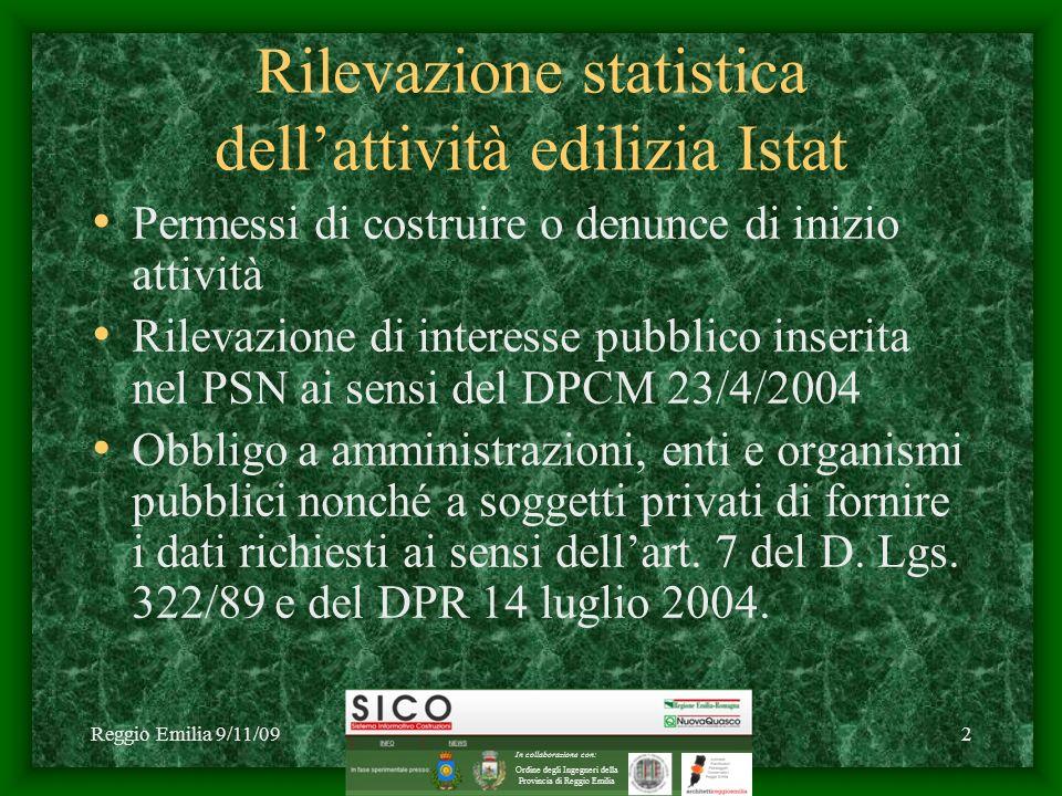 Reggio Emilia 9/11/09C1 2009 NuovaQuasco - SICO2 Rilevazione statistica dellattività edilizia Istat Permessi di costruire o denunce di inizio attività